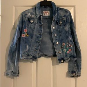 Blue jean jacket with floral embroidery